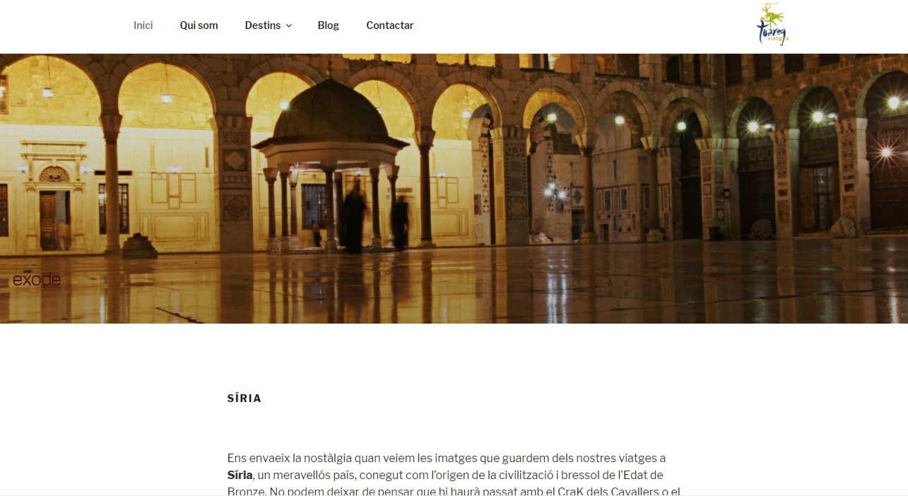 Ensagradariatornar-hi.com exposição fotográfica de Viatges Tuareg. Front office em WP